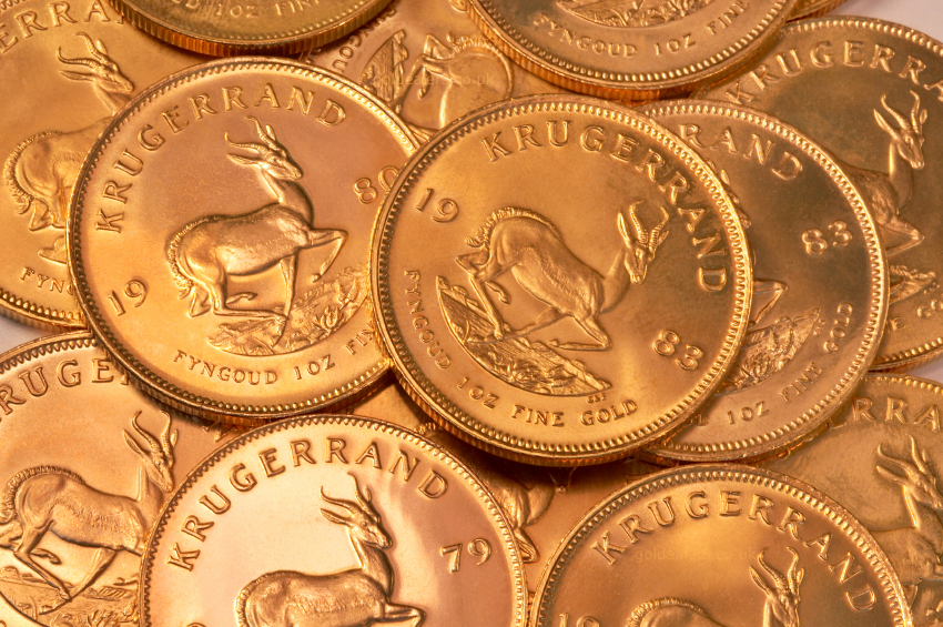 Image of a pile of Krugerrand Coins