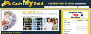 CashMyGold website screenshot. To be struck off companies register