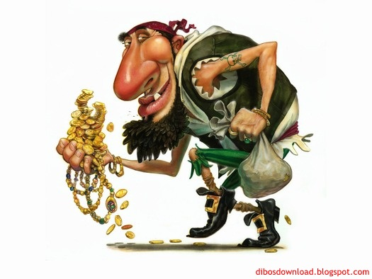 Caricature of a gold thief