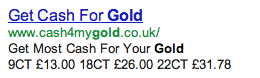 TGS cash4mygold.co.uk misleading advertising