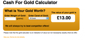TGS cash4mygold.co.uk misleading online calculator